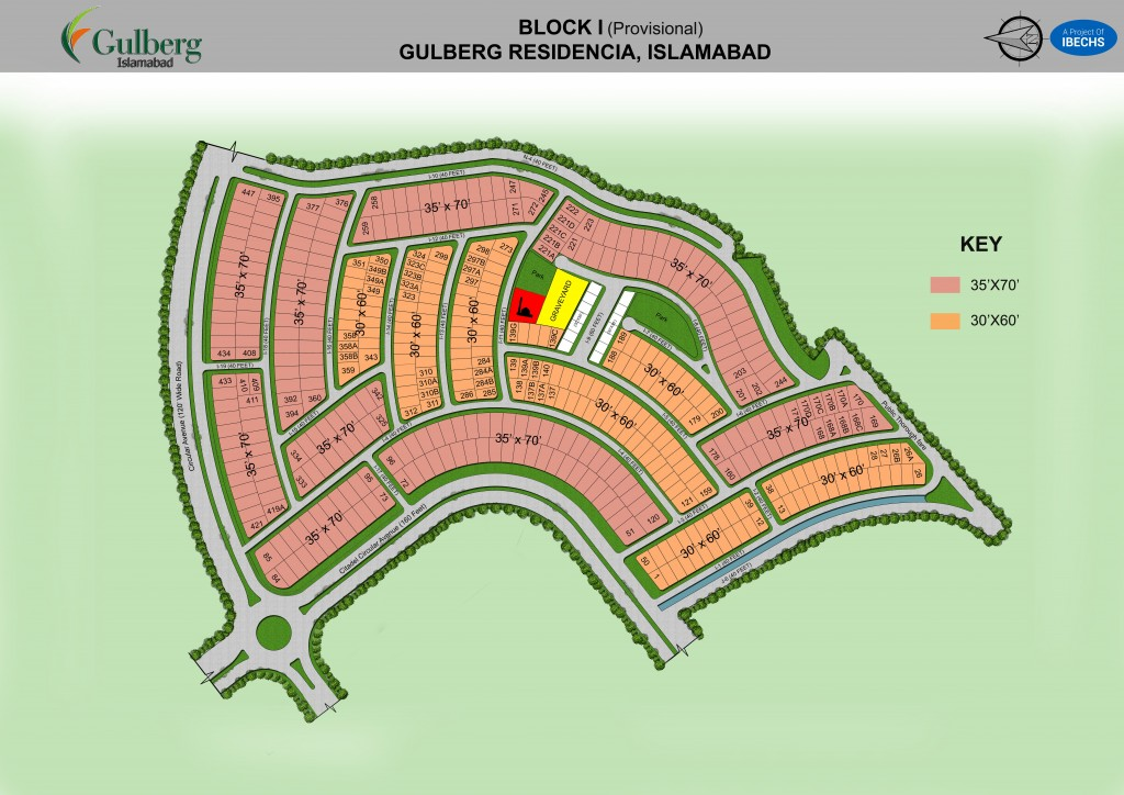 Map of Block I in Gulberg Residencia