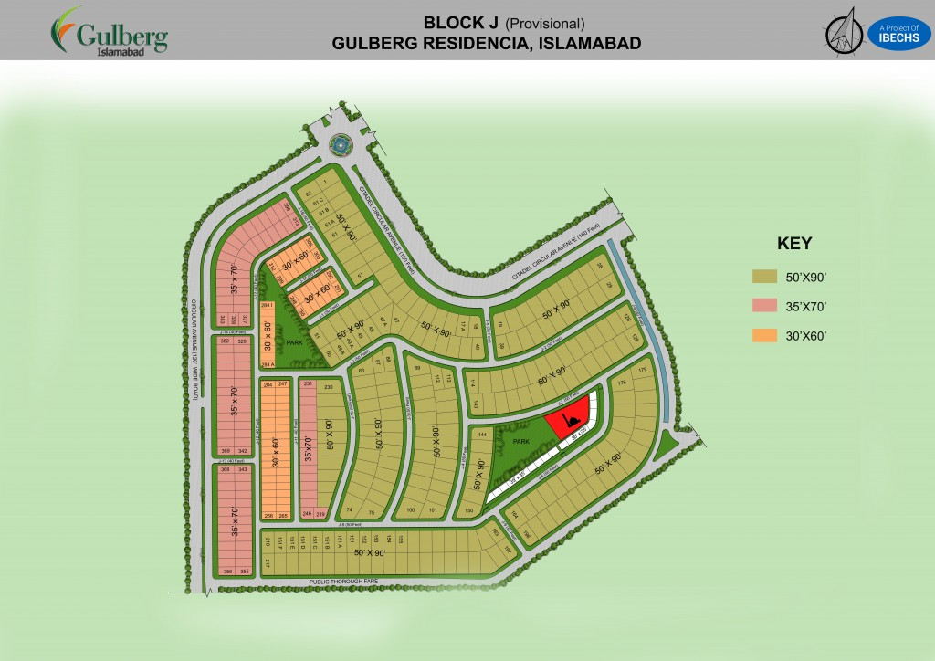 Map of Block J in Gulberg Residencia