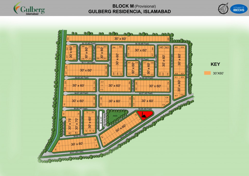 Map of Block M in Gulberg Residencia
