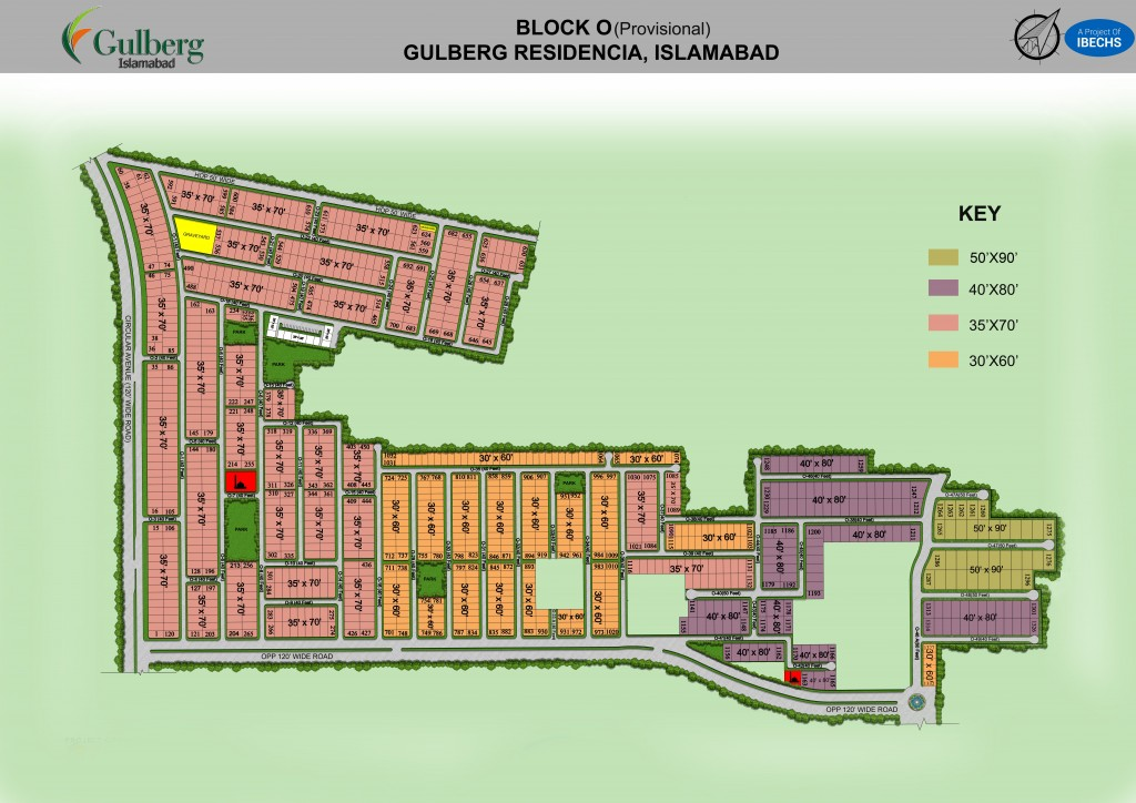 Map of Block O in Gulberg Residencia