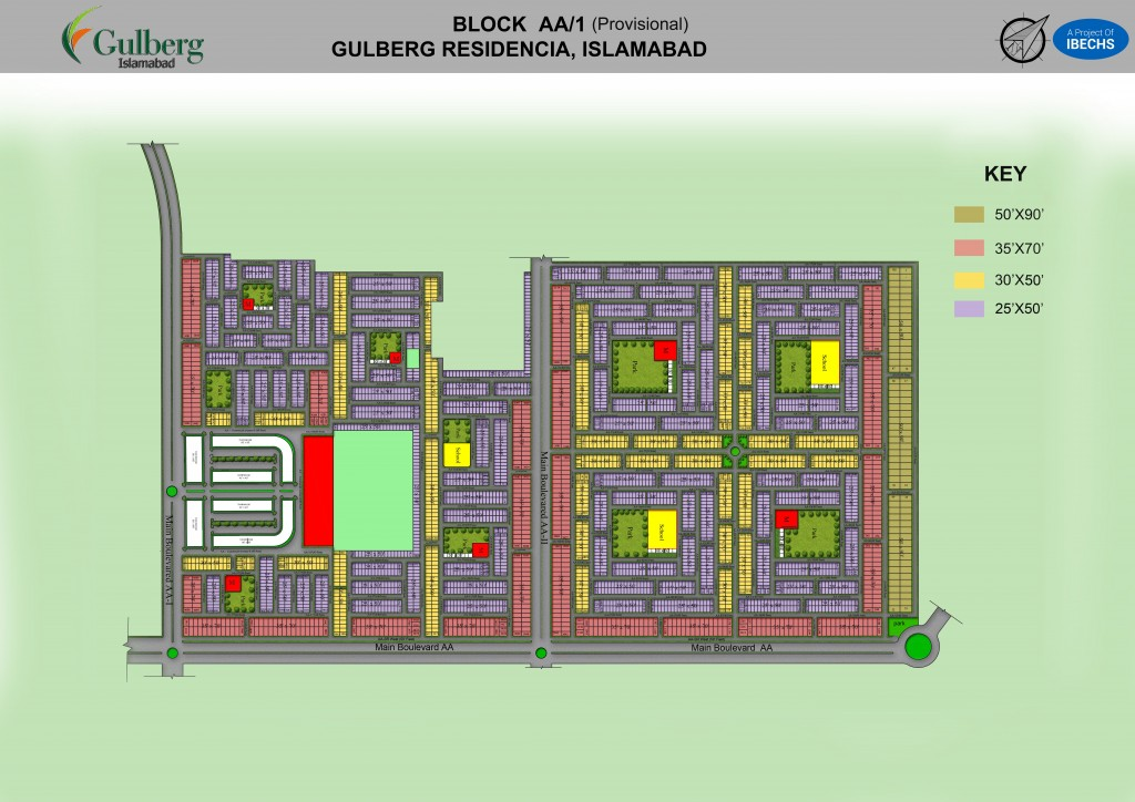 Map of Block AA in Gulberg Residencia