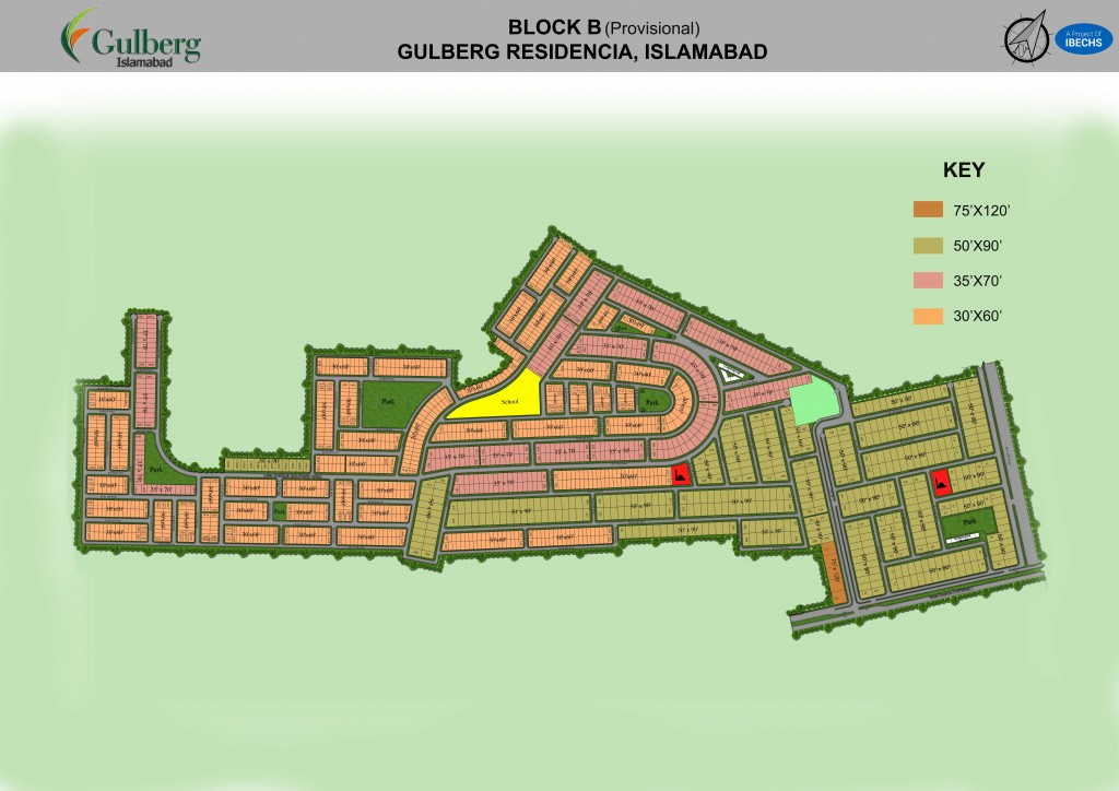 Map of Block B in Gulberg Residencia