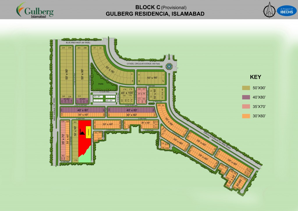 Map of block C in Gulberg Residencia
