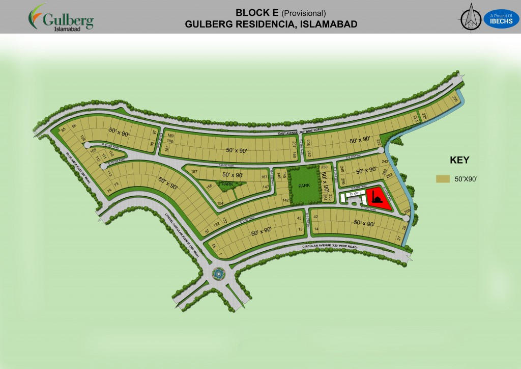Map of Block E in Gulberg Residencia