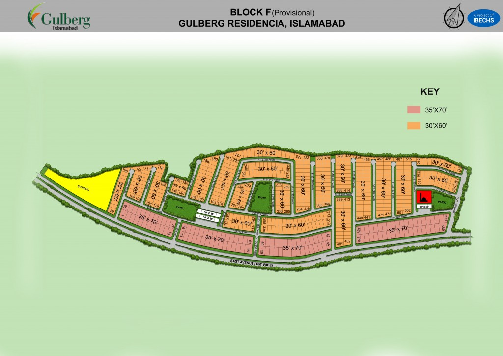Map of Block F in Gulberg Residencia