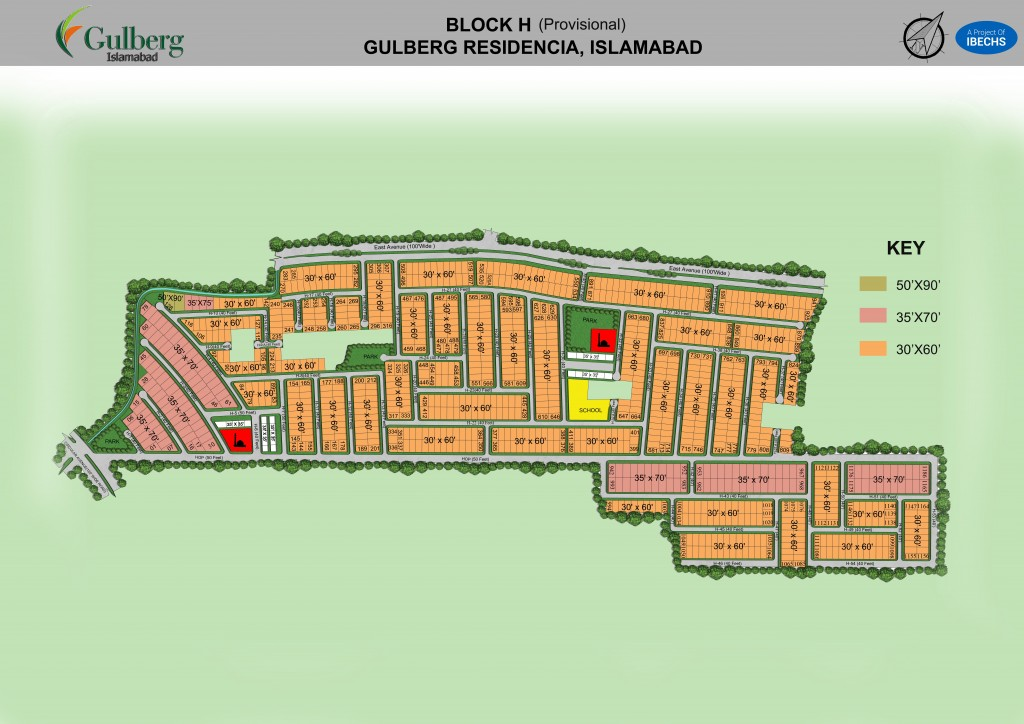 Map of Block H in Gulberg Residencia