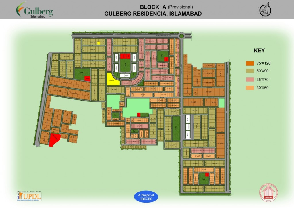 Map of block A, of Gulberg Residencia