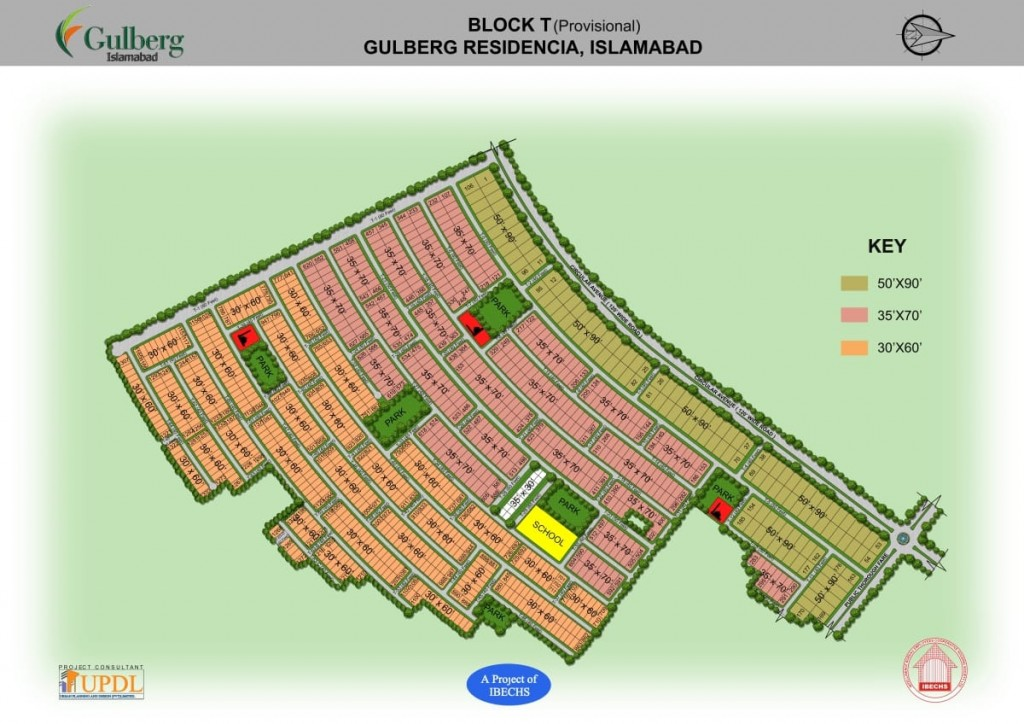 Map of Gulberg Residencia's block T